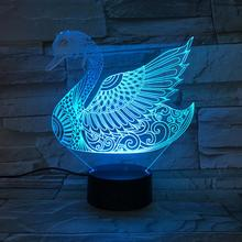 Animal Swan 3D Lamp Touch Sensor 7 Color Changing Bedroom Decorative Lamp Child Kids Baby Kit Nightlight Swan Led Night Light цена