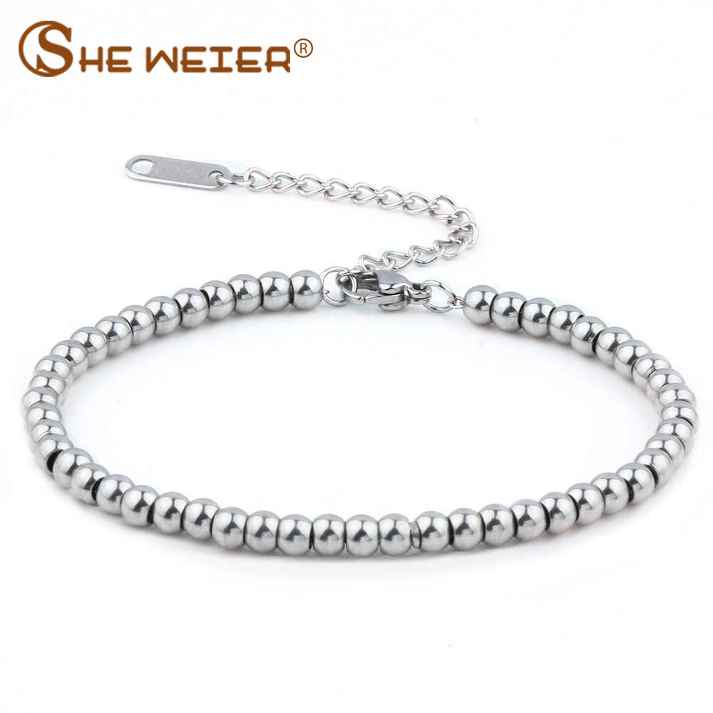 SHE WEIER stainless steel  jewelry charms beads bracelets& bangles men femme gifts for women female braclet braslet chain link