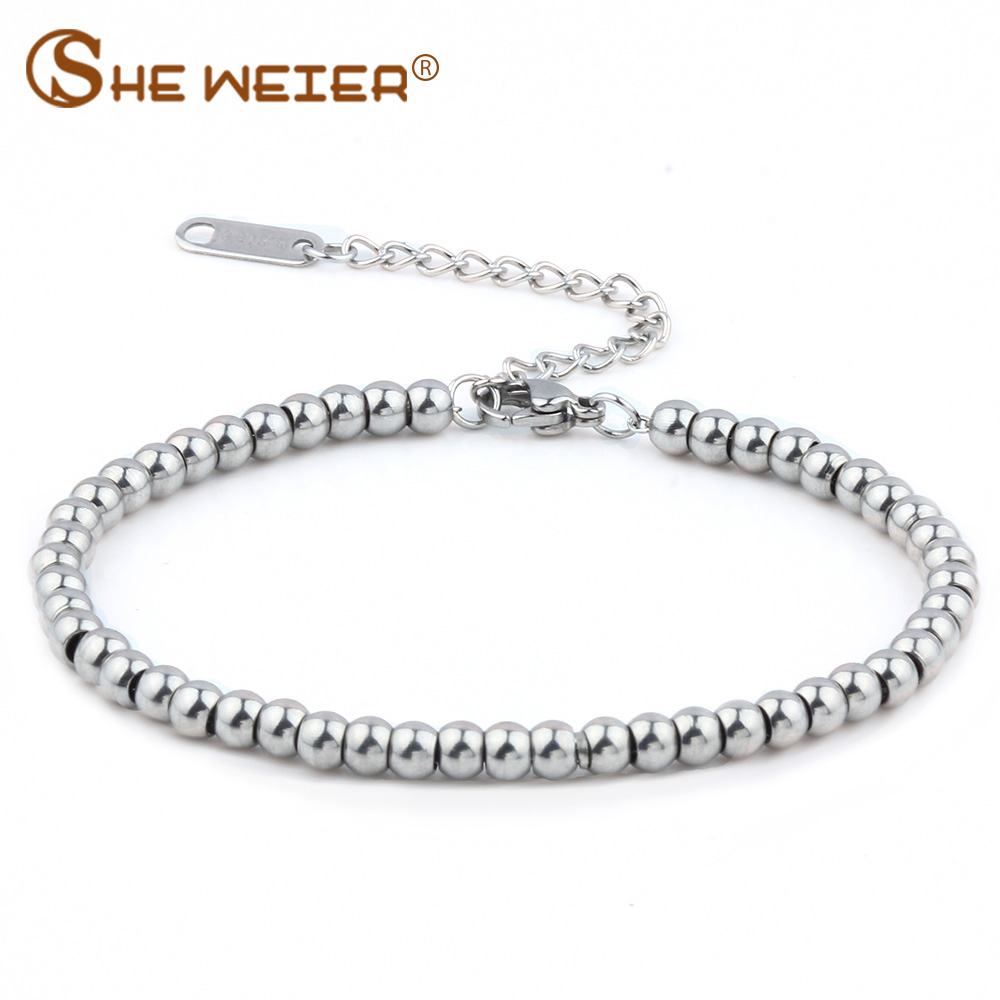 SHE WEIER stainless steel jewelry charms beads bracelets& bangles men femme gifts for women female bracelet braslet chain link