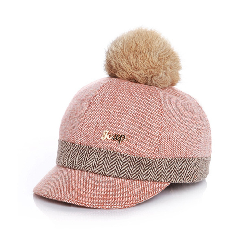 Kid's Fur-top Tweed Baseball Cap - Pink