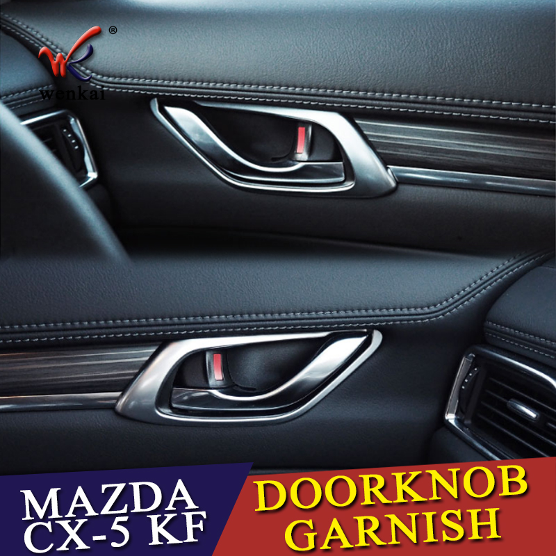 For <font><b>MAZDA</b></font> <font><b>CX</b></font>-<font><b>5</b></font> CX5 KF 2017 <font><b>2018</b></font> Car Door Handle Bowl Covers ABS Chrome Trim Chromium Styling <font><b>Interior</b></font> Decoration <font><b>Accessories</b></font> image