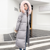 2018 new fashion large fur collar winter coat women over the knee thickening parka female warm down jacket women plus size coats