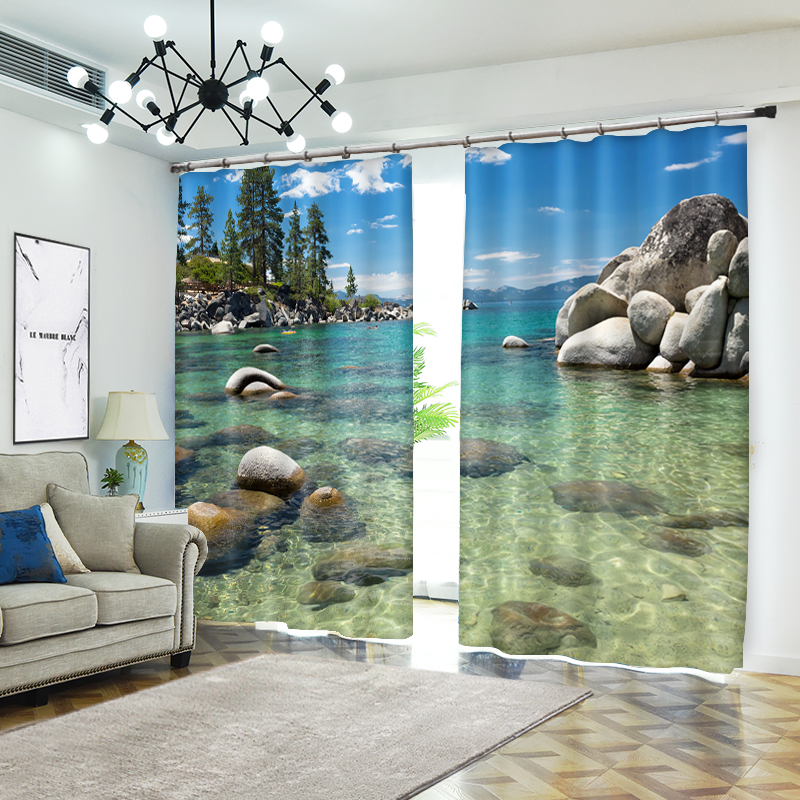 Clear Water Scenic Photo 3D Curtains For Living Room Window Treatments Modern Curtains Beding Room High-precision Shade