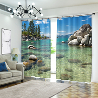 Clear Water Scenic Photo 3D Curtains for Living Room Window Treatments Modern Curtains Beding Room High precision Shade