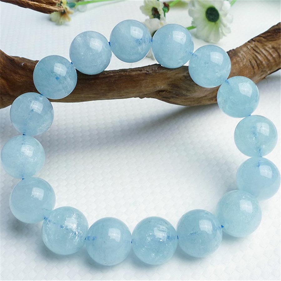 Round Bead Jewelry Stretch Charm Bracelet For Women Mens 14mm Genuine Blue Natrual Stone Bracelet graceful multilayered pentagram charm bracelet for women