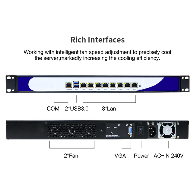 Yanling New 1U Rack Server 8 Intel i211-AT Lan Network Security Computer VPN Router with Core i3 6100 CPU For ROS Pfsense 3