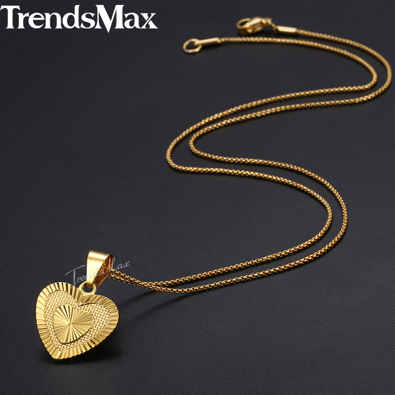 Trendsmax Women's Heart Pendant Necklace Gold Thin Chain Necklace Wedding Jewelry Gift for Girlfriend Wife 45cm 50cm KGP199