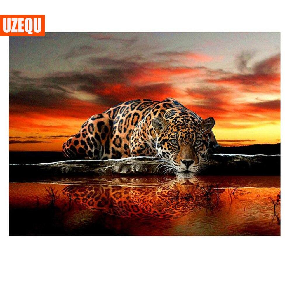 UzeQu Diamond Mosaic Leopard 5D DIY Diamond Painting Cross Cross - Arte, zanate dhe qepje