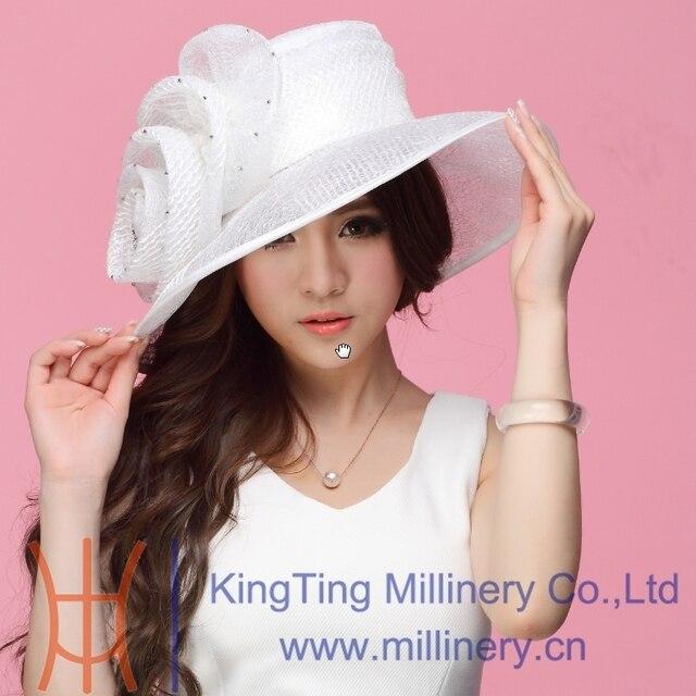 Бесплатная доставка новые женщины органзы Hat церковь Hat широкими полями цветок мода платье женщины аксессуары необычные свадебные платья Hat белый