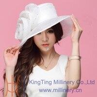 จัดส่งฟรีผู้หญิงใหม่Organzaหมวกคริสตจักรหมวกปีกกว้างดอกไม้แฟชั่นชุดอุปกรณ์เสริมผู้หญิงแฟนซ...