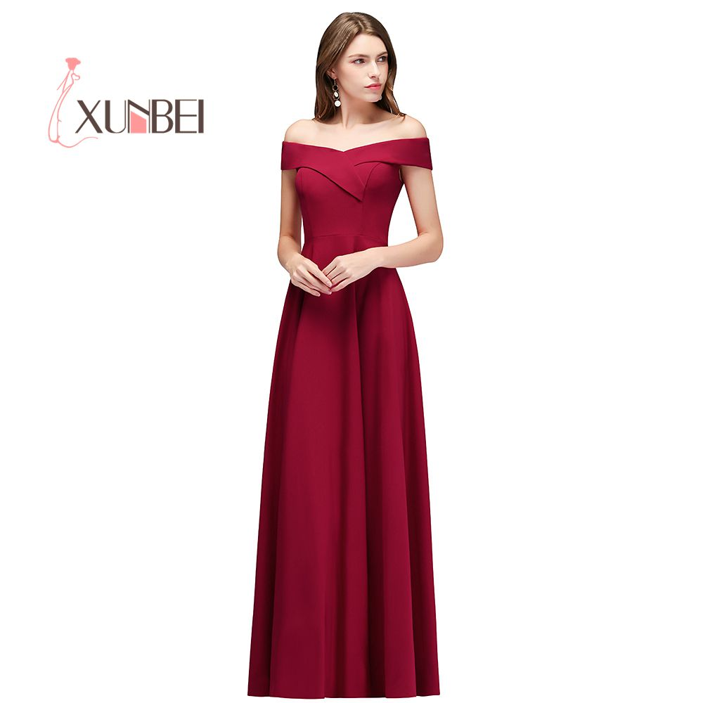 Robe de soiree Sexy Off The Shoulder Burgundy   Evening     Dresses   Long 2019 Satin Prom   Dress   Formal Party Gown