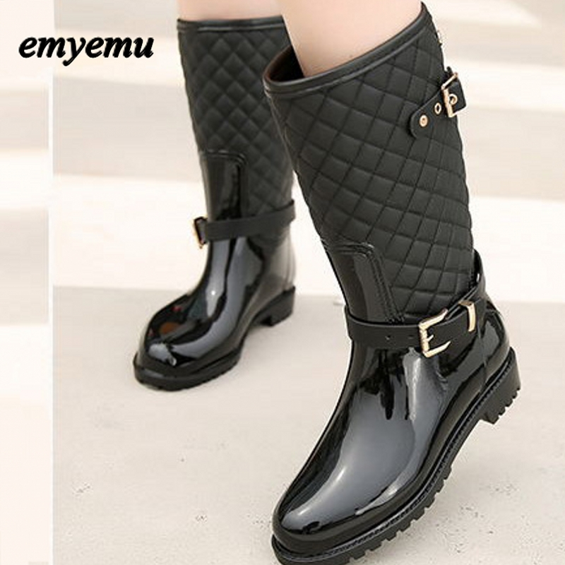 Spring Autumn Women rainboots New Fashion Rain Mid-calf Rubber Boots Shoes Waterproof rian boots wellies polka dot breathable belt single shoes wading mid calf fashion gum canister rain womens boots women colorful antiskid
