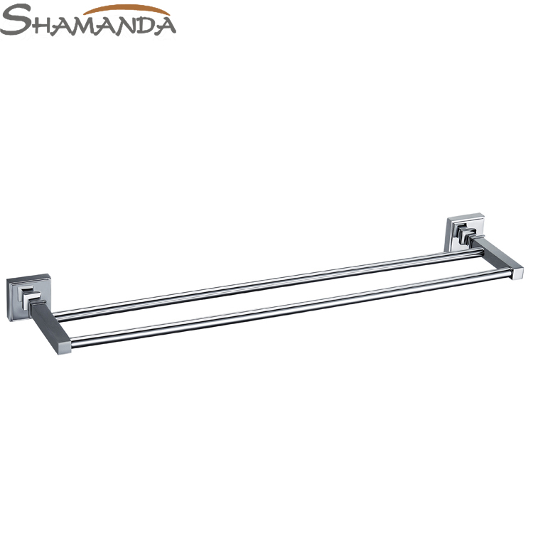Free Shipping-Solid Brass Chrome Double Towel Bar,Towel Holder,Towel Rack-Bathroom Accessories Products-wholesale-85009 free shipping bathroom products solid brass chrome single towel bar chrome towel holder towel rack bathroom accessories cs008d 2