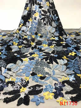 Latest African Fabrics Flowers High Quality 2019 Nigerian Net Lace Fabric with Sequins Sequence Lace for Women Dresses NI1730-1