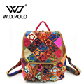 W.D.POLO Genuine leather lady backpack famous brand design flower bags women cow leather hand bag dotter design chic M2063