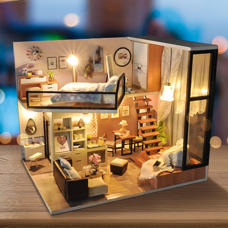 New Set DIY Doll House Wooden Miniatura Doll Houses Furniture Kit DIY Puzzle Assemble Toy For Children Gift With Light