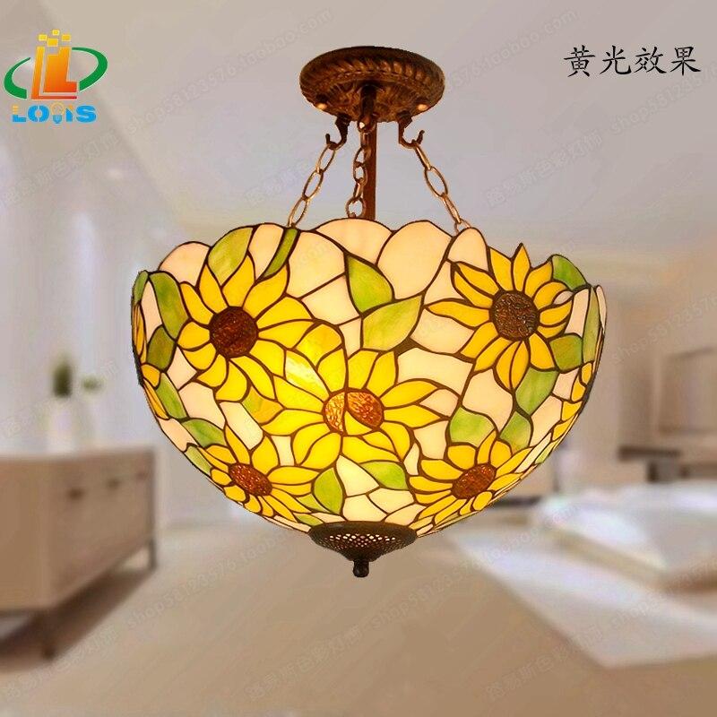 40 см Подсолнух желтое стекло Тиффани анти спальня с люстрами, гостиной лампы США французский бар вход освещение - 3
