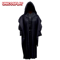 Kids Robe Jedi Knight Cosplay Costume Black Tunic Cloak Halloween Outfit for Kid Children Carnival Party Suit Role Playing