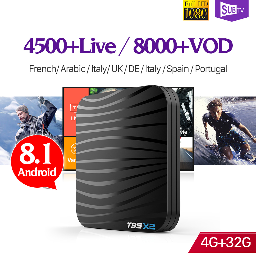 Iptv France Android 8.1 T95X2 Tv Box 4GB 32GB S905X2 With 1 Year SUBTV Code Iptv Subscription French Portugal UK Italy Arabic   Iptv France Android 8.1 T95X2 Tv Box 4GB 32GB S905X2 With 1 Year SUBTV Code Iptv Subscription French Portugal UK Italy Arabic