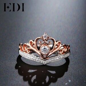 Image 3 - EDI קלאסי כתר אמיתי טבעי יהלומי חתונת טבעות לנשים 14k 585 רוז זהב לבן אירוסין להקות תכשיטים