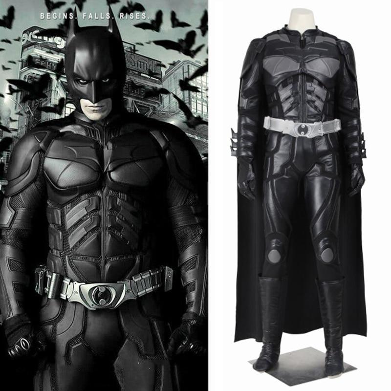 Batman The Dark Knight Rises Costume Bruce Wayne Cosplay Cloak Jacket Pants Belt Props Men Halloween Accessories Custom Made