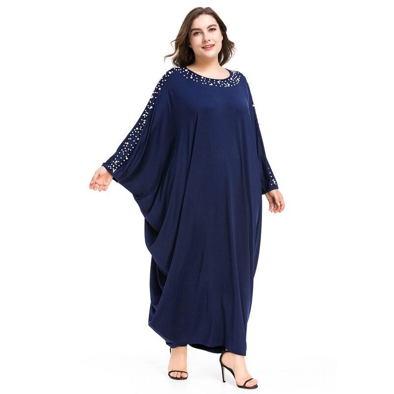 Arabe élégant lâche Abaya caftan mode islamique perles Robe musulmane conception de vêtements femmes manches chauve-souris dubaï Abaya Robe bleu marine - 3