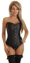 купить Overbust Black Brocade burlesque Corset Top 3085 Size S-XXL steampunk corset 2015 Corselet  по цене 1355.23 рублей