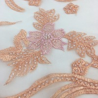 hot sale wholesale aso ebi multi color flower beaded lace fabric 5yards/lot for evening gowns/proms/wedding dress/garment