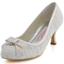 "Custom Made More Colors EL-003 Ivory Women Party Round Toe Med Heels 2.5"" Wedding Pumps Rhinestones Bow Satin Lace Bridal Shoes"