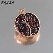 все цены на Red Garnet Round Pendant Necklace for Women Ethnic Jewelry Pomegranate Shaped Long Chain Necklace Charming Choker Necklace Kolye онлайн