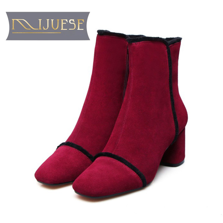 MLJUESE 2018 women ankle boots cow Suede zippers wine red color striped autumn spring high heels women martin boots size 43 maison jules new red women s size xs striped shimmer tie back blouse $49 091