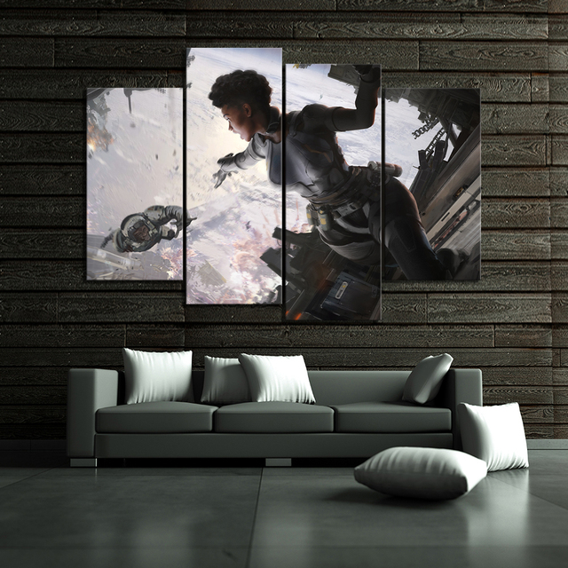 Canvas Paint Home Decor Wall Art Paintings 4 Piece Classic Movie Legends Game Poster Framework Living Room Modular Pictures