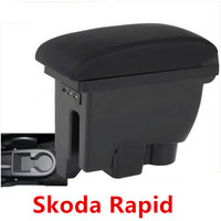 For Skoda Rapid Spaceback Armrest Box + 3USB Black Leather Center New Storage Box Modification