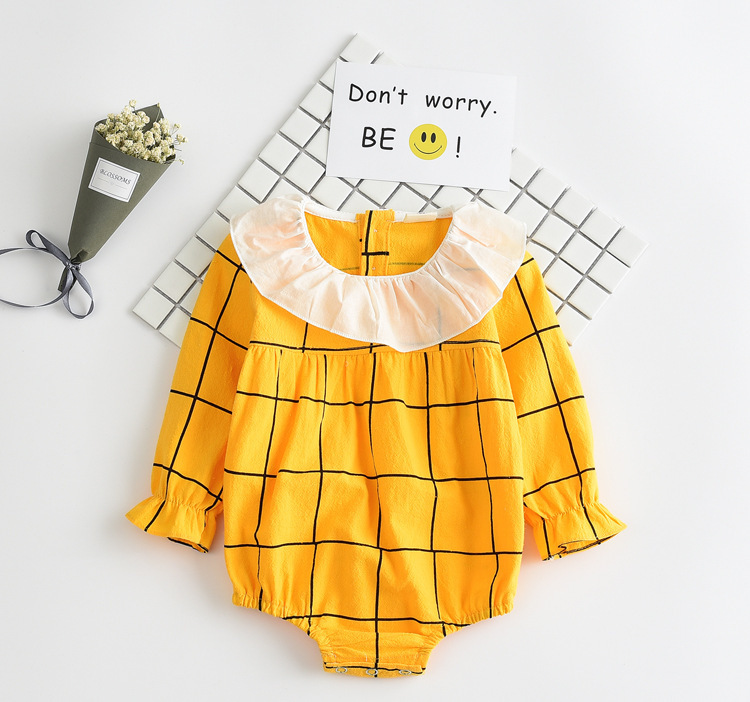 2017 new girls rompers kids peter pan collar long sleeve cotton romper baby plaid casual clothes newborn clothing onesie outfit