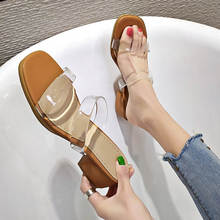2019 New Womens Sandals Shoes PVC Transparent Fashion Low Heels Ladies High Heel Slip On Casual Outsides Slides