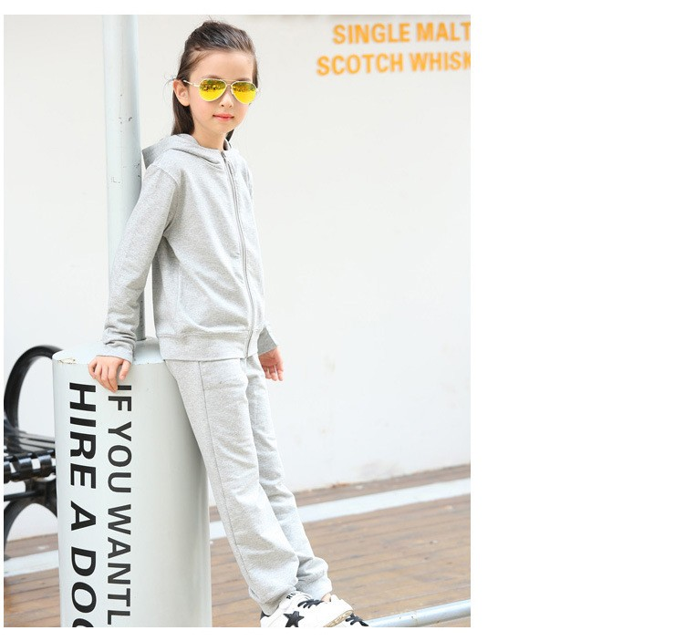 2016 character tracksuits childrens clothing for girls kids hooded hoodies coats pants girl clothes suits gray pink sports sets  5 6 7 8 9 10 11 12 13 14 15 16 years old little big teenage girls clothing set (13)