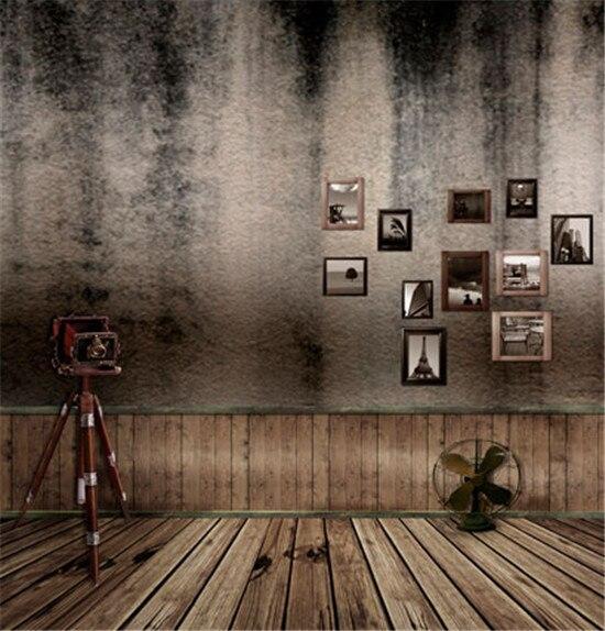 Vintage Room Vinyl Photography Background Backdrop Studio: Vintage Old Wall Wooden Floor Fan Posters Camera Hold Props Studio Decor Backgrounds Printed