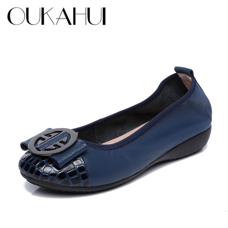 OUKAHUI Special Offer Genuine Leather Women Ballet Flat Shoes With Women'S Slip-On Soft Metal Decoration Boat Shoes Women Flats (China)