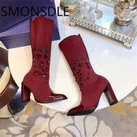 SMONSDLE 2018 Новинка; модный стиль носки сапоги Острый носок на не сужающемся книзу массивном каблуке женские ботинки осень зима строка Бисер Об