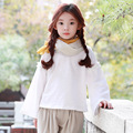 Опрятный стиль мода дети блузки для девочек 2017 новая коллекция весна осень корейских детей одежда девочек топы с длинным рукавом белый