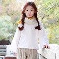 Moda estilo preppy crianças blusa para meninas 2017 nova primavera outono coreano roupas crianças meninas tops de manga longa branca