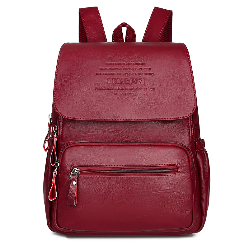 2019 Women High Quality Leather Backpacks Female Shoulder Bag Sac A Dos Ladies Travel Bagpack Mochilas School Bags For Girls