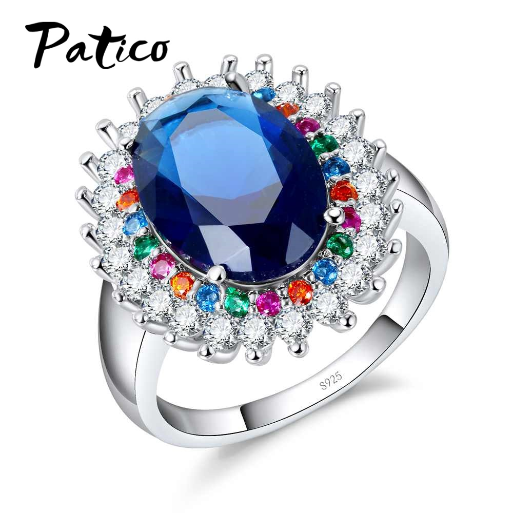 PATICO Brilliant 925 Sterling Silver Colorful Crystal Blue Cubic Zirconia Finger Rings Females Jewelry Luxurious For Wedding