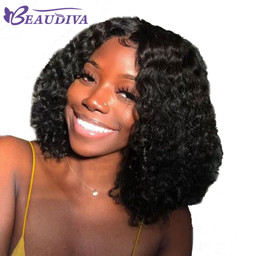 BEAU DIVA Lace Front Human Hair Wigs Natural Color Brazilian Curly Lace Frontal Wigs With Baby Hair Non Remy Hair Wigs For Women