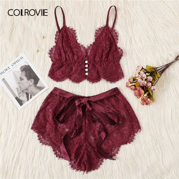COLROVIE Pink Scalloped Floral Lace Lingerie Set Women Pajama Set 2019 Burgundy Bralettes And Briefs Sleepwear Sexy Nightgown