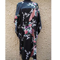 Chinese National Trend Black Female Silk Robe Bath Gown Nightdress Casual Home Dress Sexy Printed Sleepwear One Size  NS0056