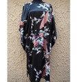 Tendencia Nacional chino Negro Albornoz Bata Camisón de Seda Femenina Casual Vestido de Casa Sexy Impresa ropa de Dormir Un Tamaño NS0056