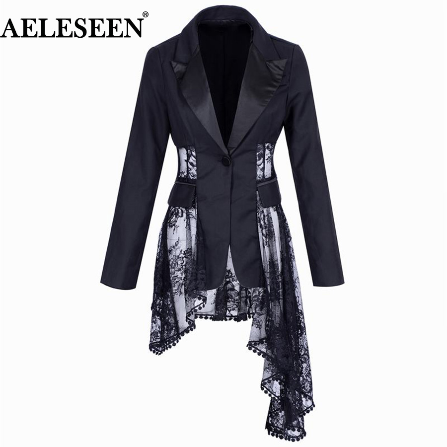 AELESEEN Designer New Black Runway Jacket 2018 Luxury Fall Fashion Outer wear Embroidery Lace Patchwork Irregular Blazers Women