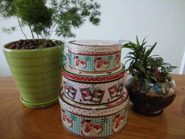 3PCS/set Metal Santa Claus storage box ,Chirisma tree present box ...