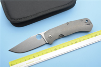 XS EDC C186 Titanium Alloy Handle D2 Steel Blade Camping Field Survival Outdoor Hunting EDC Tools
